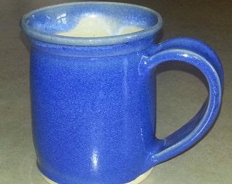 Pottery Mug, Handmade Large  Pottery Mug, Handthrown Blue Mug, 16 oz Mug, Stoneware Mug, Handmade Mug, Wheel Thrown Mug, Coffee Mug