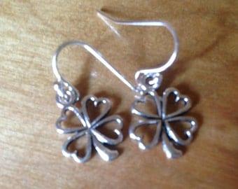 Silver Flower Dangle Earrings