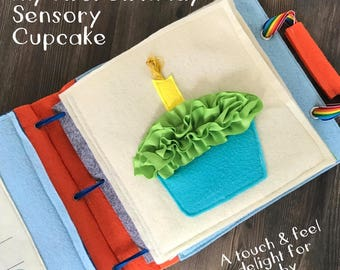 Birthday Cupcake Page for TinyFeats Quiet Book - Baby Sensory Activity - First B-Day Candle- Montessori Educational Toy for Baby and Toddler
