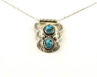 Vintage Navajo Rose Abeyta Turquoise Necklace 925 Sterling NC 1071