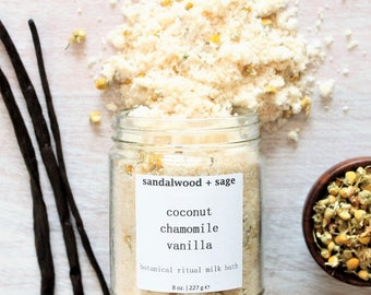 Coconut + Chamomile + Vanilla Ritual Milk Soak - 8oz. // vegan bath milk // organic coconut bath milk // indulgent botanical milk bath