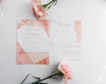 PRINTED Geometric Watercolor Wedding Invitations, Blush Wedding Invitations, Geometric Wedding Invite, Wedding Invite, Summer Invite