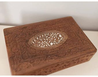 Vintage Hand Carved Wood Box | Carved Wooden Trinket Box | Large Ring Box | Made in India