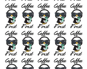 Penguin - Coffee First - Planner Stickers - Fits All Planner Sizes | Erin Condren | Happy Planner | Recollections | Paper Plum Planner |TN