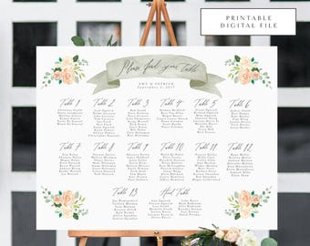Watercolor Florals Calligraphy Seating Chart - Printable DIGITAL Design File