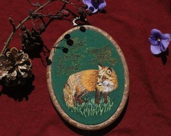 Fox embroidery  art, embroidery hoop, hoop art, home decor, painting, needlepainting