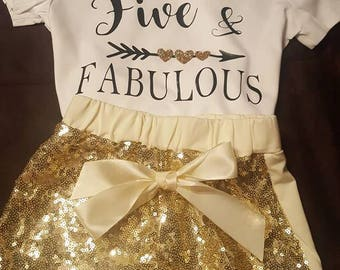 Five and Fabulous, 5th Birthday, Fifth Birthday, Set With Sequined Shorts and Sequined Headband/Bow