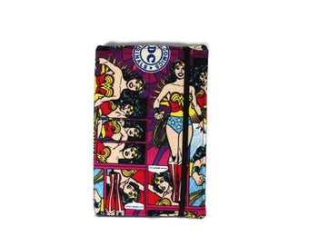 Kindle Case Hardcover, Kindle Cover made with Wonder Woman fabric, iPad mini Case, Nook Cover, Kindle Fire Case, Nook Case, Ereader Case