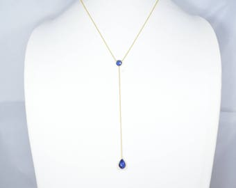 sapphire necklace,blue color necklace,natural gemstone necklace,lariat  necklace,Y style necklace,chain necklace,gold plating necklace,