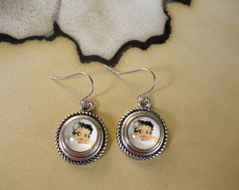 BETTY BOOP 12mm small interchangeable snap button on silver metal dangle earrings