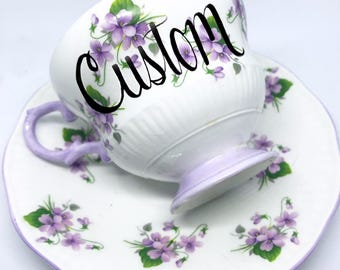 FREE SHIPPING - Cheeky China, CUSTOM!! Purple and Green Floral Tea Cup & Saucer
