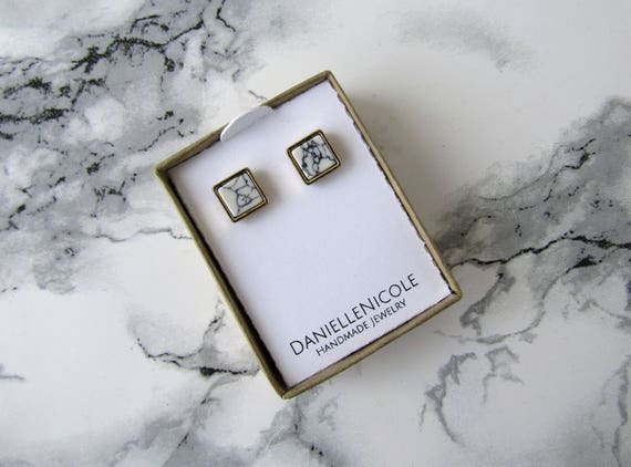 White Marble Square Earrings, Howlite Square Earrings, Simple Earrings, Statement Earrings, Everyday Jewelry, Statement Jewelry, Boho Chic