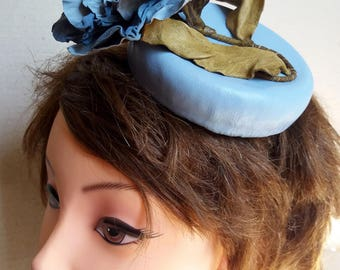 Pink leather Pillbox Hat-blue
