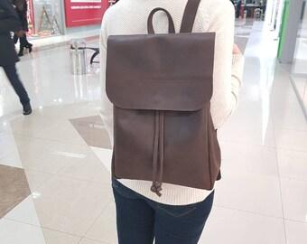Dark Brown Leather Backpack, Women's Backpack, Geniune Leather Backpack, Vintage Leather Backpack, Camera Backpack