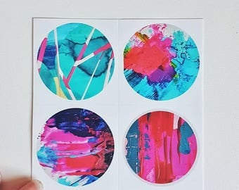 A set of 4 stickers of staplefacestudio artwork bright abstract stickers luxury gloss finish