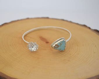 Turquoise and Sterling Silver Succulent Cuff