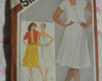 Simplicity 9909 Misses Pullover Sundress and Unlined Blero Jacket Sewing Pattern - UNCUT - Size 12
