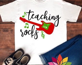 Teaching Rocks, SVG, Music Note Guitar cut file for silhouette cameo and cricut