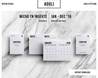 Micro TN Insert | Micro TN Size | Micro TN Insert Printable |Micro tn 2018 Calendar | Travelers Notebook Insert | Printable Insert | MO2P |