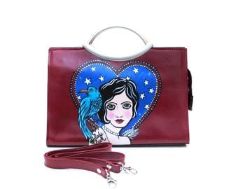 Lady Luck Hand Painted Upcycled Women's Italian Red Leather Convertible Clutch Handbag