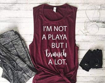 Workout Tank Top, Fitness Tank Top, Yoga Tank Top, Workout Tank, Shirts With Sayings, Muscle Tank, Brunch A Lot