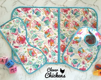 Wipeable Change Pad, Quilted Change Mat, Baby Bib, Burp Cloth, Baby Shower Gift Set, Baby Gift Set, Owls, Unisex