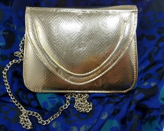 Gorgeous Gold Snakeskin Look Walborg Evening Bag