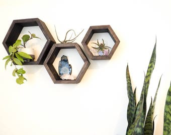 Floating Shelves, Hexagon Shelves, Geometric Shelves, Modern Shelves, Wooden Shelves, Mid-Century Modern,  Honeycomb Shelves