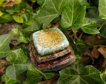 Amazonite Sri Yantra Orgone® Pyramid