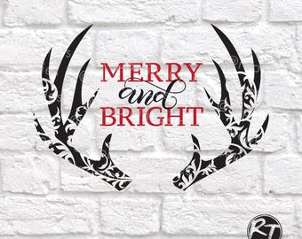 Christmas Svg, Antler Svg, Christmas Sign Svg, Merry and Bright Svg, Fall Svg, Winter Svg, Country Svg, Files for Cricut, Dxf, Eps, Decal