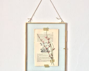 hanging glass specimen frame with pink pressed flowers - large