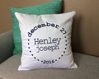 Personalized Baby Shower Gift Pillow Unique Newborn Baby Birthday Gift Custom Embroidered Pillow