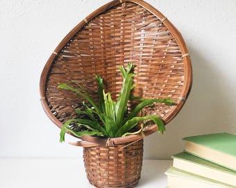 Vintage Wicker Planter + Fanned Wall Pocket + Woven Hooded Basket + Boho Decor + Hooded Peacock +