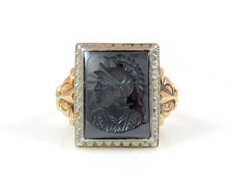 Hematite Intaglio Greek Warrior Men's Ring 10K Gold - X4463