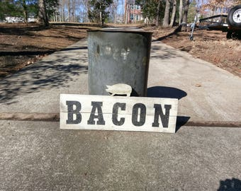 """Rustic Farmhouse Shabby Chic """"BACON"""" Kitchen Sign"""