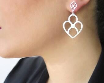 Gold earrings, Arabesque earrings, Geometric gold earrings, Dangle gold earrings, 18K gold earrings, Yellow gold earrings, Gift for her