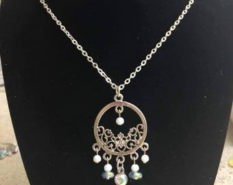 Chandelier necklace etsy silver art nouveau chandelier necklace pendant necklaces aloadofball Gallery