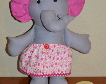 Elephant in pink flowered skirt