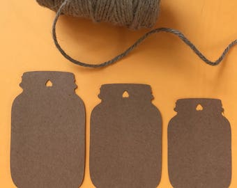 Mason Jar Tags, Blank Tags, Mason Jar die cuts