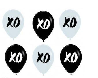 Bulk 6 Pack Mix XO Balloons in Black & White  Balloons DIY Party Pack mix 28cm