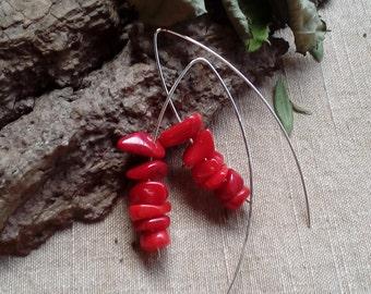 SOLD 925 silver earrings long boho raw red earrings coral hoop big rustic organic tribal modern simple chic earrings