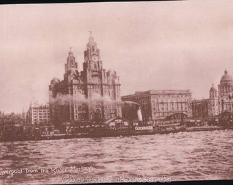 Liverpool From The Mersey ~  Vintage Postcard. ~ Not Posted ~ 1900's.