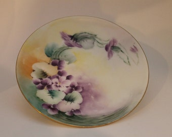 Vintage Handpainted Pansy Floral Plate by Silesia 1900-1920