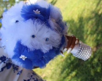Blue and White Tulle  Wedding Bouquet