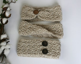 CROCHET PATTERN / cinched button crochet pattern / chunky button headwrap / twist crochet headband pattern / pdf crochet pattern / easy