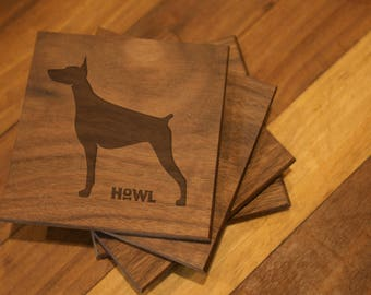 Doberman Coaster Set