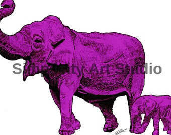 Elephant Original Artwork Prints / Various Colors Available/ Various Sizes Available