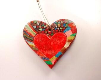 Ceramic heart, ca. 6 x 6 cm, ceramics, home decor, Interior, home decorations, red, hanging heart, art, artistic