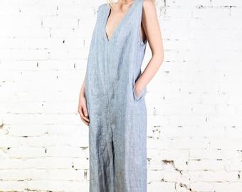 Linen jumpsuit, linen overall, summer jumpsuit, loose linen jumpsuit/LJ0004