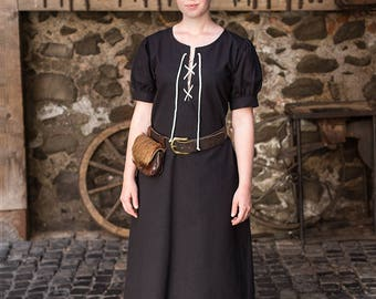Burgschneider Medieval Viking Short sleeved Cotton dress Gretl